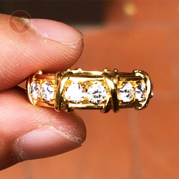 Nhẫn kim cương tự nhiên tiffany eternity ring vàng 18k 1