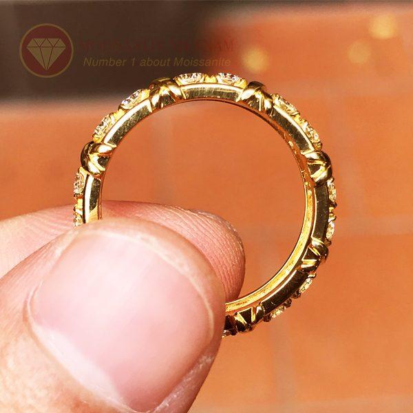 Nhẫn kim cương tự nhiên tiffany eternity ring vàng 18k 3