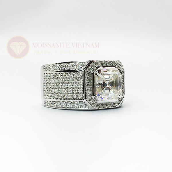 Nhẫn nam kim cương nhân tạo moissanite chủ asscher 8x8 2