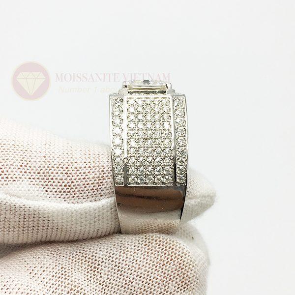 Nhẫn nam kim cương nhân tạo moissanite chủ asscher 8x8 4