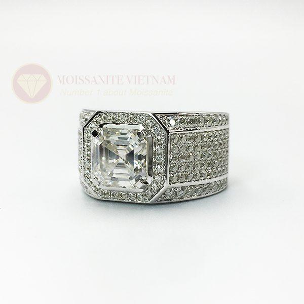 Nhẫn nam kim cương nhân tạo moissanite chủ asscher 8x8