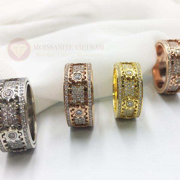 Nhẫn xoay Kitnet full kim cương nhân tạo moissanite 1