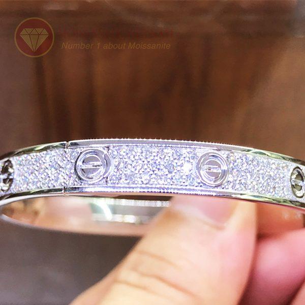 Vòng tay tình yêu kim cương Love Bracelet Catier vàng trắng 18k 2
