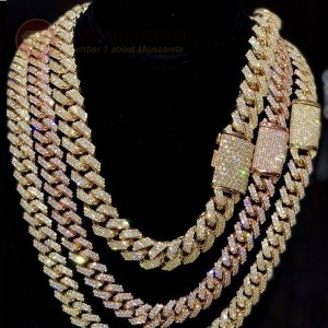 Dây chuyền kim cương nam vàng 18k Cuban Chain