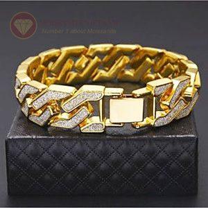 Lắc tay kim cương nam vàng vàng 18k
