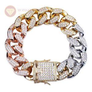 Lắc tay nam full kim cương kết hợp vàng hồng trắng