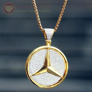 Mặt dây chuyền nam logo mercedes full kim cương