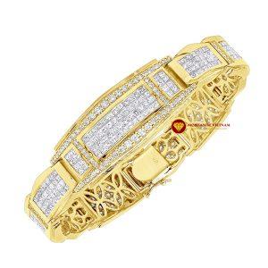 Lắc tay kim cương nam giác cắt princess đặc biệt vàng 18k