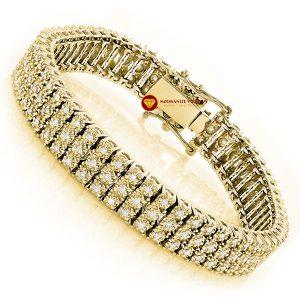 Lắc tay kim cương nam Row Prong vàng 18k 4