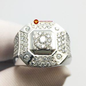 Nhẫn nam kim cương nhân tạo Mỹ moissanite chủ ghép vàng trắng 18k NO.1