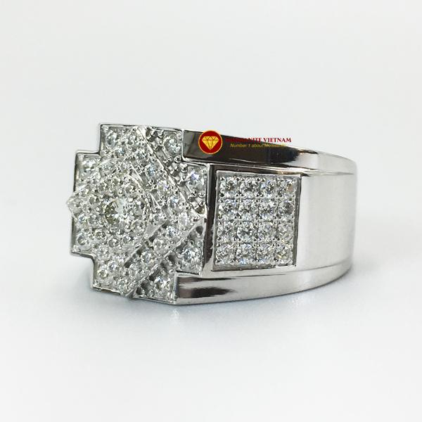 Nhẫn nam kim cương nhân tạo Mỹ moissanite chủ ghép vàng trắng 18k NO.4 1