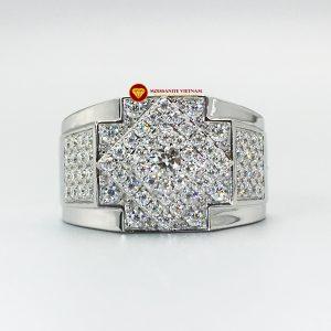 Nhẫn nam kim cương nhân tạo Mỹ moissanite chủ ghép vàng trắng 18k NO.4