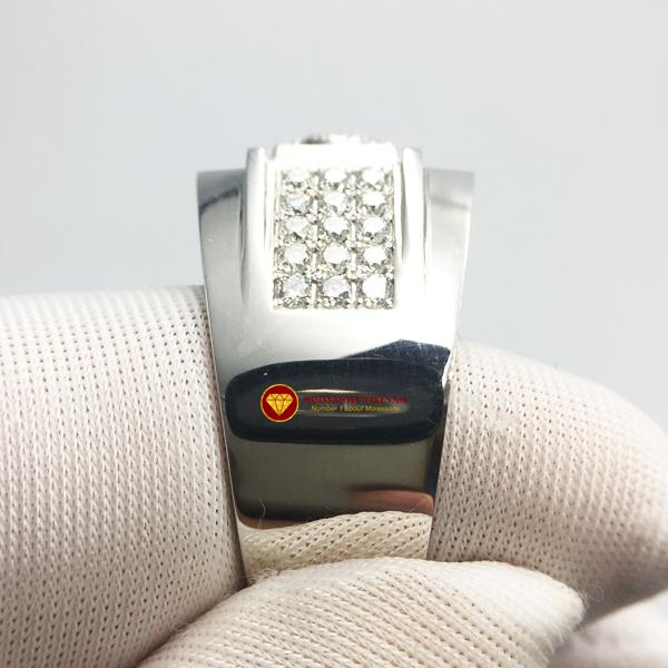 Nhẫn nam kim cương nhân tạo Mỹ moissanite chủ ghép vàng trắng 18k NO.5 3