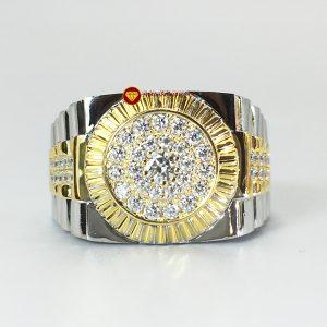 Nhẫn nam Rolex đai cứng kim cương nhân tạo moissanite và ghép vàng 18k