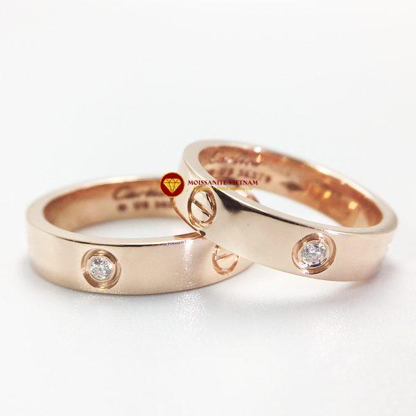 Nhẫn tình yêu Love Ring 1 viên xoàn Mỹ moissanite vàng hồng 18k 1