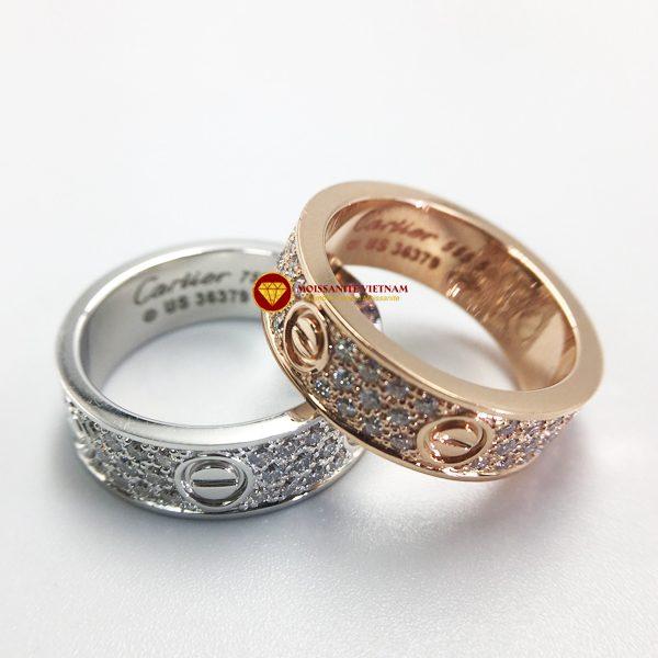 Nhẫn tình yêu love ring kim cương nhân tạo mỹ moissanite vàng 18k 2