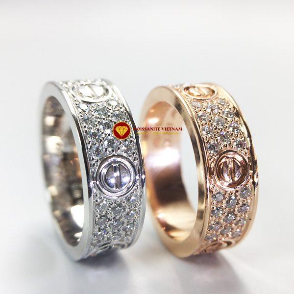 Nhẫn tình yêu love ring kim cương nhân tạo mỹ moissanite vàng 18k