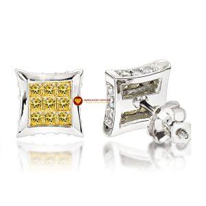 Bông tai nam kim cương nhân tạo mỹ moissanite princess vàng 1