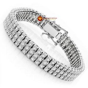 Lắc tay kim cương nam 3 hàng Bracelet vàng 18k