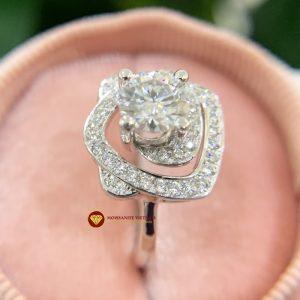 Nhẫn nữ kim cương moissanite chủ 6ly engagement