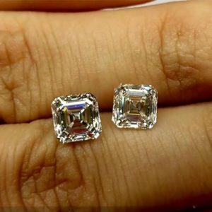Kim cương nhân tạo Moissanite Asscher 10ly