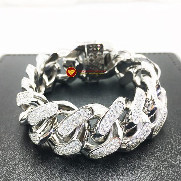 Lắc tay nam full kim cương moissanite vàng trắng 18k