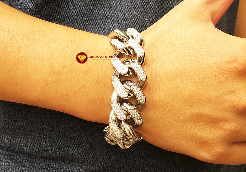 Lắc tay nam full kim cương moissanite vàng trắng 18k 5