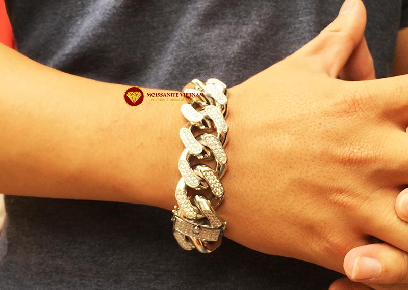 Lắc tay nam full kim cương moissanite vàng trắng 18k 6