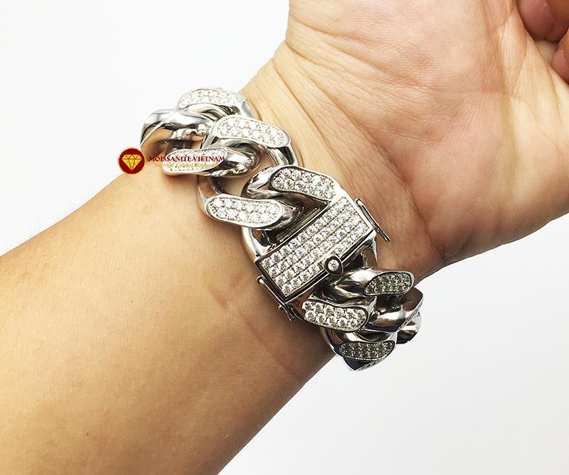 Lắc tay nam full kim cương moissanite vàng trắng 18k 7