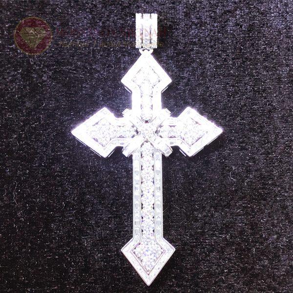 Mặt dây chuyền thánh giá kim cương nhân tạo moissanite