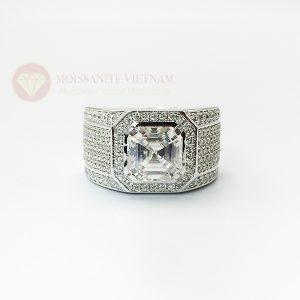 Nhẫn nam kim cương nhân tạo moissanite chủ asscher 8x8 3