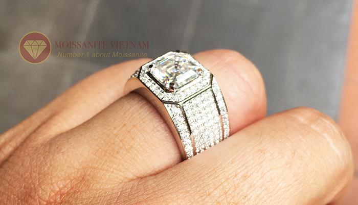 Nhẫn nam kim cương nhân tạo chủ asscher 8x8 5
