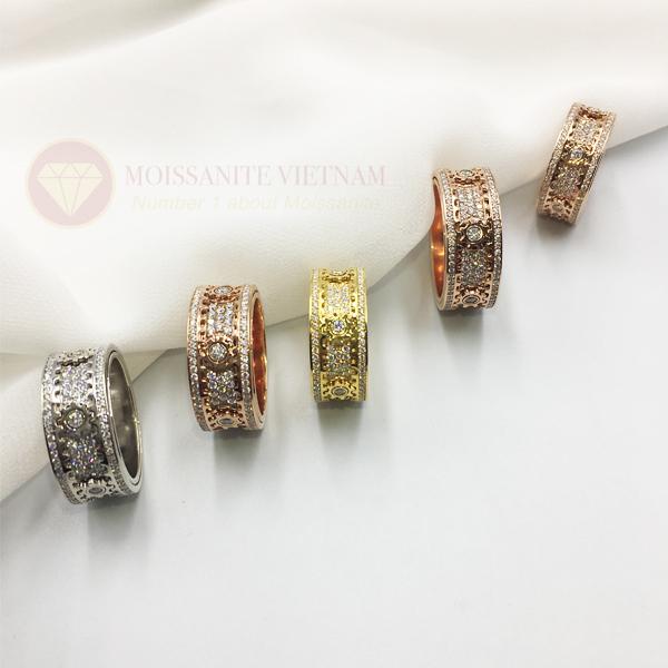 Nhẫn xoay Kitnet full kim cương nhân tạo moissanite 3