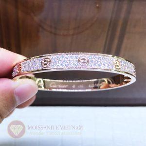 Vòng tay tình yêu kim cương Love Bracelet Catier vàng hồng 18k