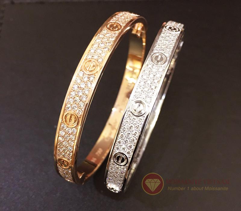 Vòng tay tình yêu kim cương Love Bracelet Catier vàng trắng 18k 6