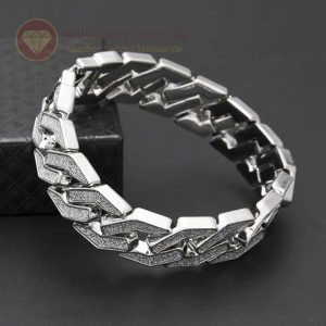 Lắc tay kim cương nam vàng trắng 18k
