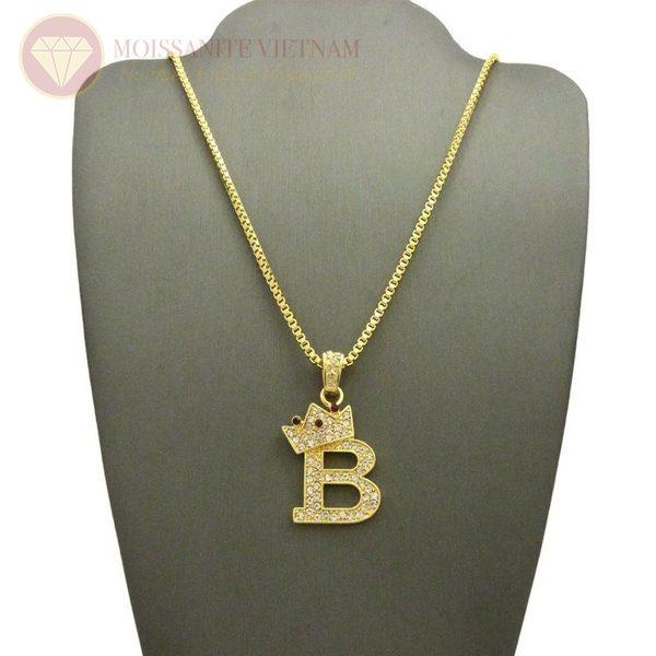 Mặt dây chuyền nam chữ B kim cương đẹp
