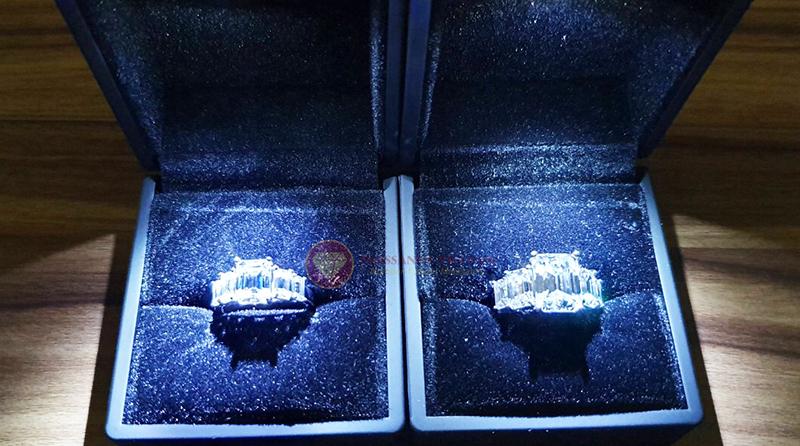 Nhẫn kim cương nhân tạo moissanite chủ emerald cut 9x12 8