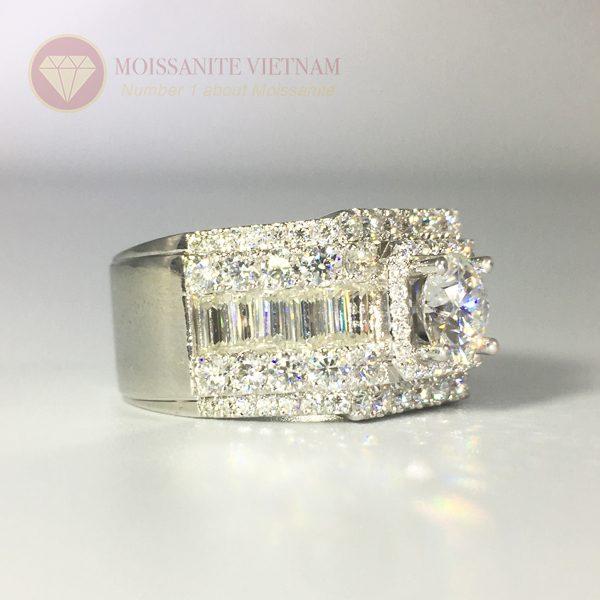 Nhẫn nam full kim cương nhân tạo moissanite baguette 2