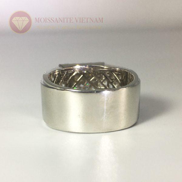 Nhẫn nam full kim cương nhân tạo moissanite baguette 4