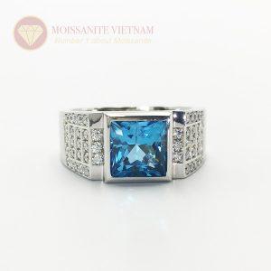 Nhẫn nam kim cương chủ princess xanh dương platinum 1
