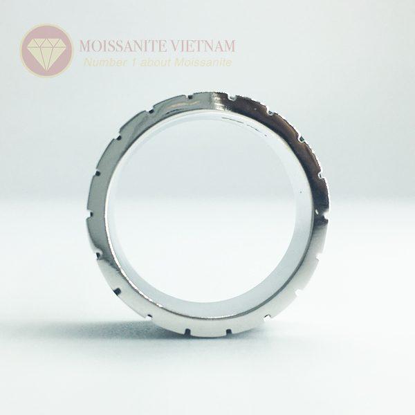 Nhẫn nam kim cương nhân tạo moissanite 3 line black 3