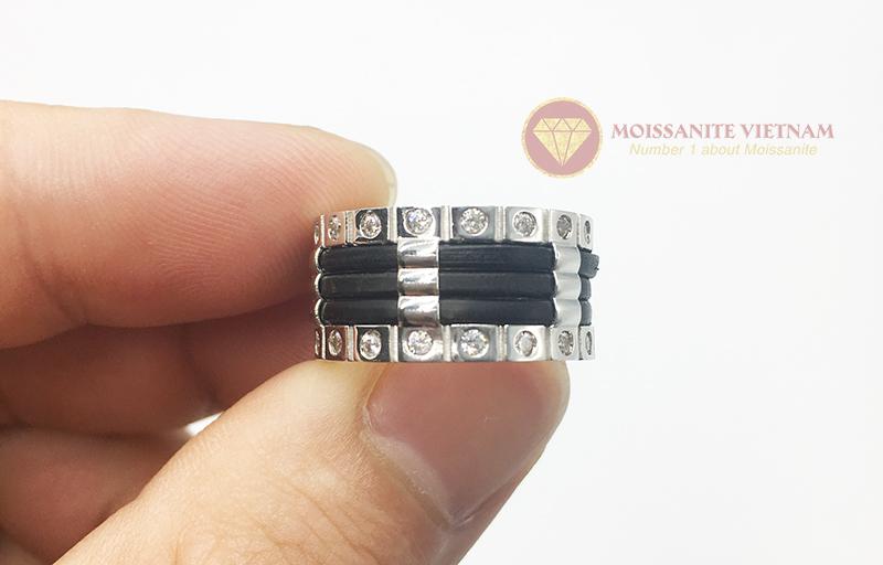 Nhẫn nam kim cương nhân tạo moissanite 3 line black 5