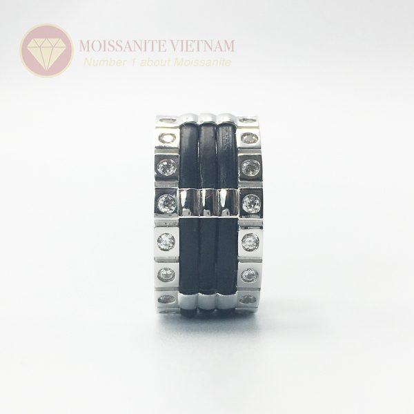Nhẫn nam kim cương nhân tạo moissanite 3 line black