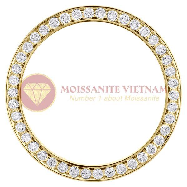 Độ niềng đồng hồ Rolex size 41 full kim cương vàng vàng 18k - O2