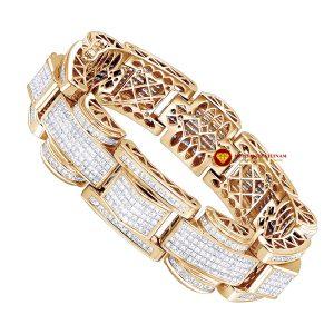 Lắc tay kim cương nam Luxurman giác cắt princess đặc biệt vàng 18k