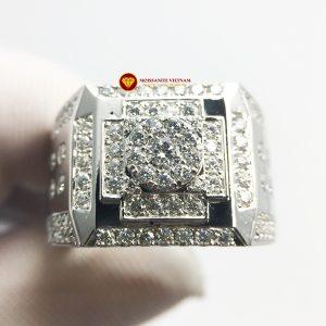 Nhẫn nam kim cương nhân tạo mỹ moissanite chủ ghép vàng trắng 18k no.2