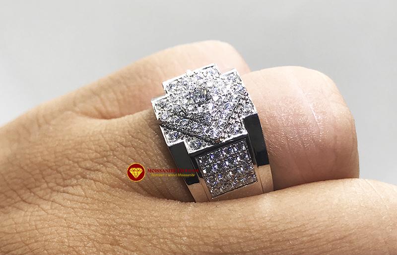 Nhẫn nam kim cương nhân tạo Mỹ moissanite chủ ghép vàng trắng 18k NO.4 4