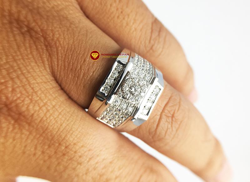 Nhẫn nam kim cương nhân tạo Mỹ moissanite chủ ghép vàng trắng 18k NO.5 6