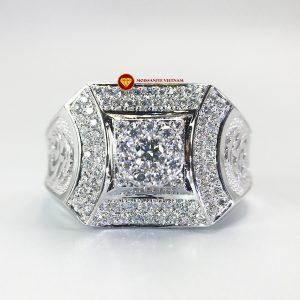 Nhẫn nam kim cương nhân tạo Mỹ moissanite chủ ghép vàng trắng 18k NO.6